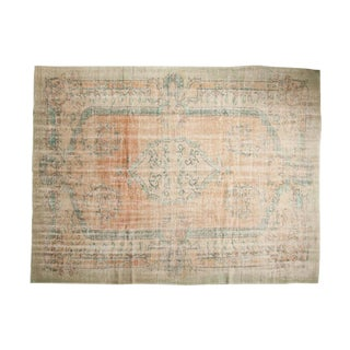 "Vintage Distressed Oushak Carpet - 7'2"" X 9'7"" For Sale"