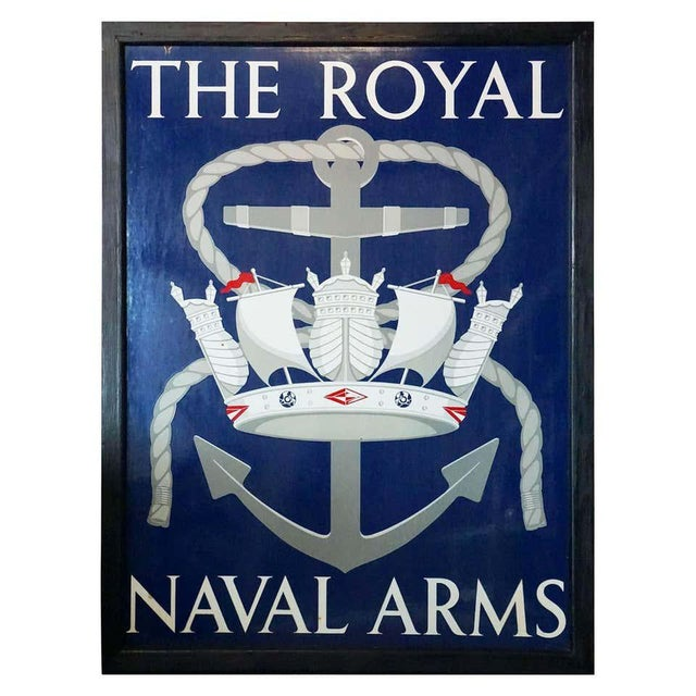 "Vinage English Pub Sign, ""The Royal Naval Arms"" For Sale - Image 13 of 13"
