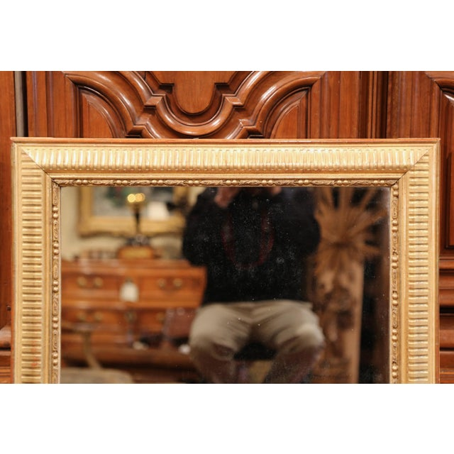 19th Century French Louis XVI Carved Gold Leaf Mirror with Two-Tone Stripe Motif For Sale - Image 5 of 9