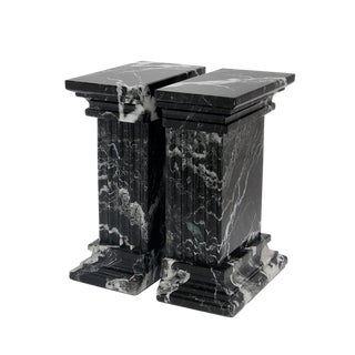Black Marble Bookends - a Pair