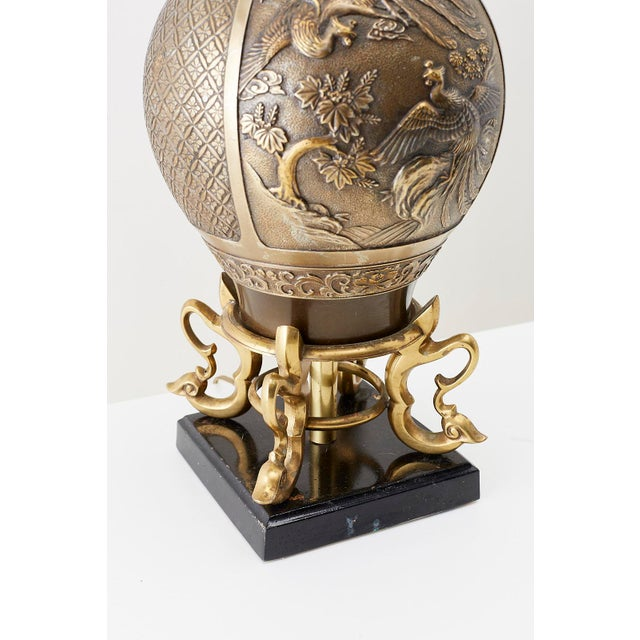 Bronze Japanese Bronze Urn Vase Mounted as Table Lamp For Sale - Image 8 of 13