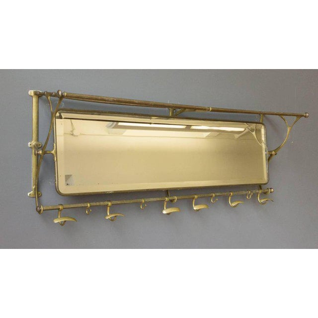Brass Coat Rack With Mirror and Hooks - Image 2 of 9