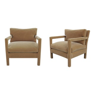 Milo Baughman Parsons Chairs Reupholstered in Camel Velvet - A Pair