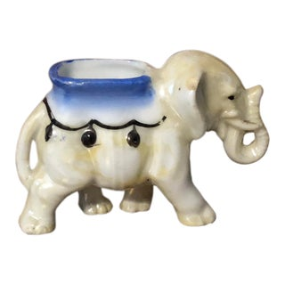 Final Markdown 20th Century Figurative Miniature Circus Elephant Match/Toothpick Holder For Sale