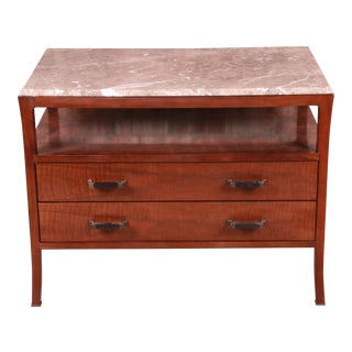 Baker Furniture Modern Mahogany Marble Top Buffet Server For Sale