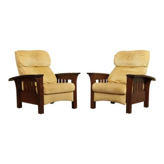 Stickley Mission Collection Oak Pair Bow Arm Recliners For Sale