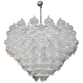 Murano Glass Tulip Chandelier For Sale