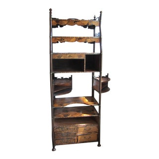 1920s Arts and Crafts Inlay Shelving Unit For Sale