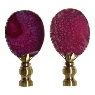 Deep Pink/ Raspberry Agate Stone in 14 Kt Gold, by C. Damien Fox - a Pair For Sale