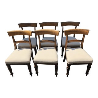 Vintage French Oak Dining Chairs - Set of 6