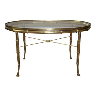 Mastercraft Faux Bamboo Cocktail Table For Sale