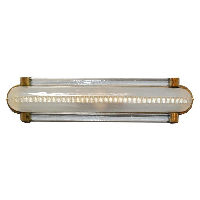 Italian wall light or flush mount shown in frosted Murano glass mounted on polished brass frame / Designed by Fabio...