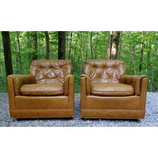 1970's Drexel Heritage Brown Tufted Leather Club Lounge Chairs ~ a Pair Preview