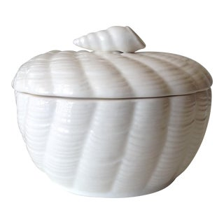 Japanese Porcelain Nautical Ceramic Lidded Jam Server Dish - 2 Pieces For Sale