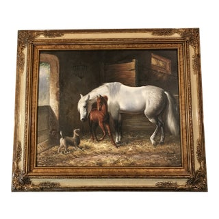 """Modern """"Stable Scene"""" Painting by P. Ward For Sale"""