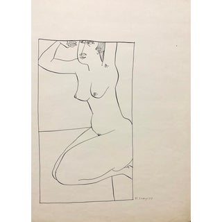 """Donald Stacy """"Waiting"""" C.1950s Ink Mid Century Nude Drawing For Sale"""