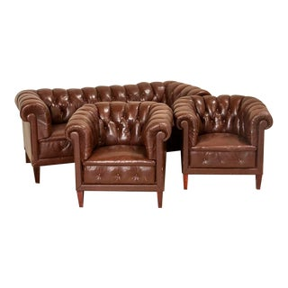 Vintage Leather Chesterfield Sofa and Club Chairs - Set of 3 For Sale