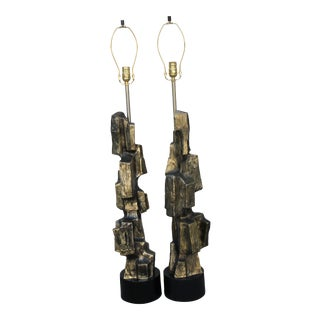 Pair of Brutalist Lamps by Richard Barr for Laurel Lamp Co. For Sale