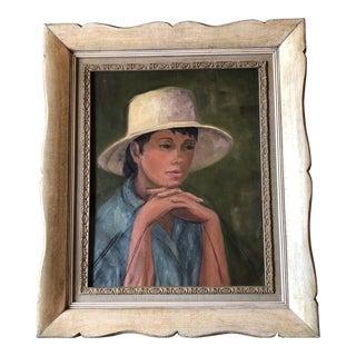 Vintage Original Female Portrait Painting Tita Karl For Sale