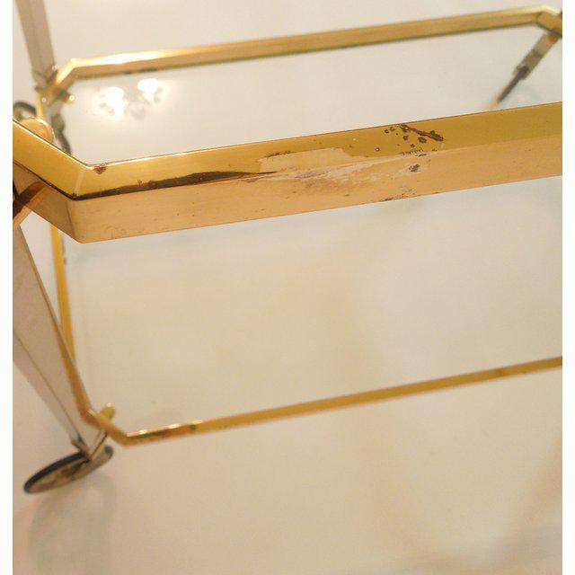 Brass 1960s Vintage Italian Brass Nickel & Glass Bar Cart For Sale - Image 7 of 8
