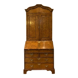Late 18th Century English Burl Walnut Secretary Desk For Sale