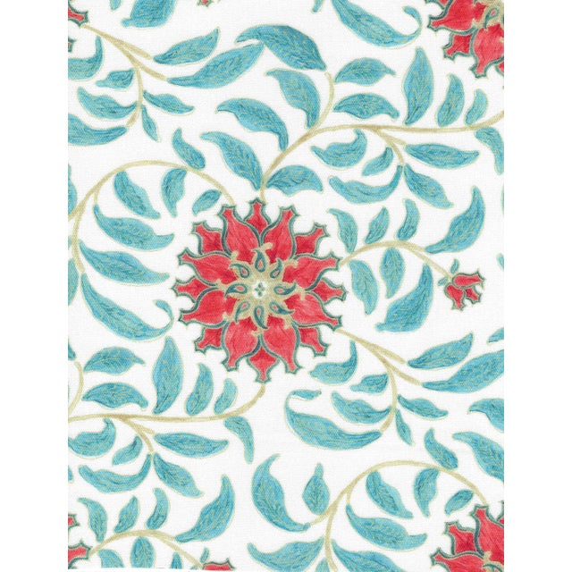 Ferran Ming Rose Fabric, Sample, Red in French Cotton Twill For Sale - Image 4 of 4