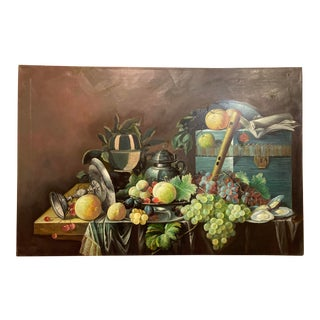 """Grape Fruit Basket"" Oil on Canvas Painting For Sale"