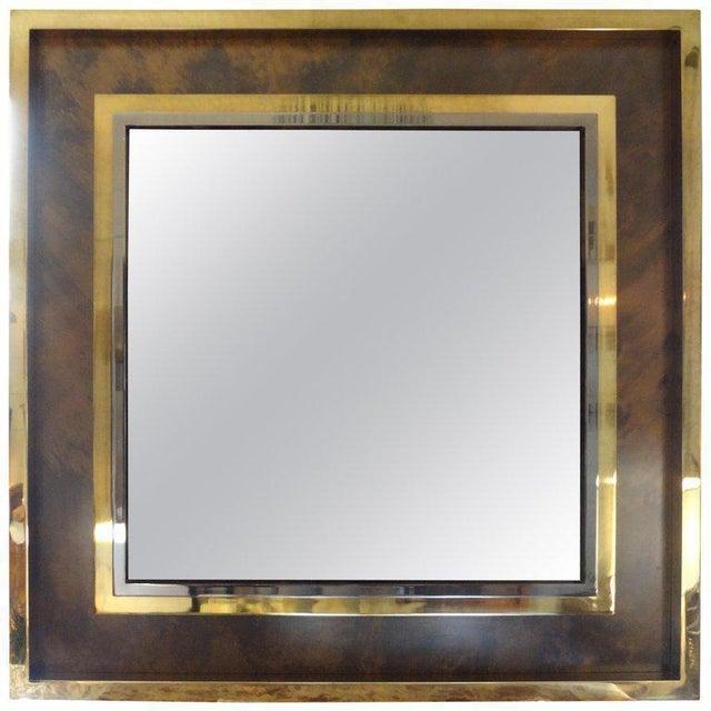 Gold Italian Romeo Rega Style Mid-Century Modern Square Mirror For Sale - Image 8 of 10