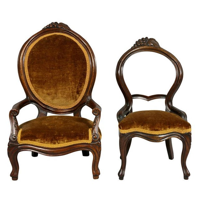 Unusual Suite of American Victorian Walnut Miniature Seating Furniture For Sale - Image 4 of 11