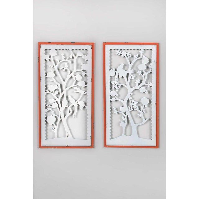 Contemporary Wooden Hanging Wall Art - A Pair For Sale - Image 3 of 3