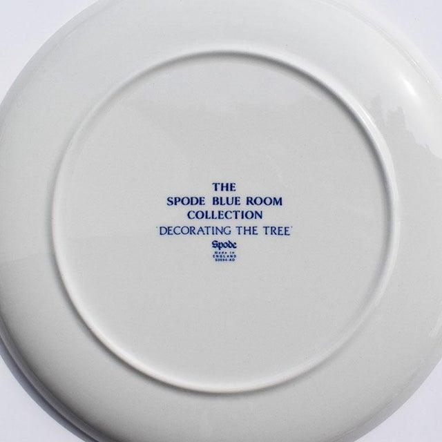 Blue Spode Georgian Blue and White Ceramic Christmas Plates - Set of 4 For Sale - Image 8 of 12