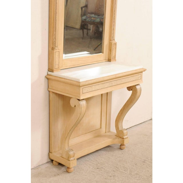 Swedish Empire Period Elm Wood Console With Marble Top From Early 19th Century For Sale - Image 9 of 11