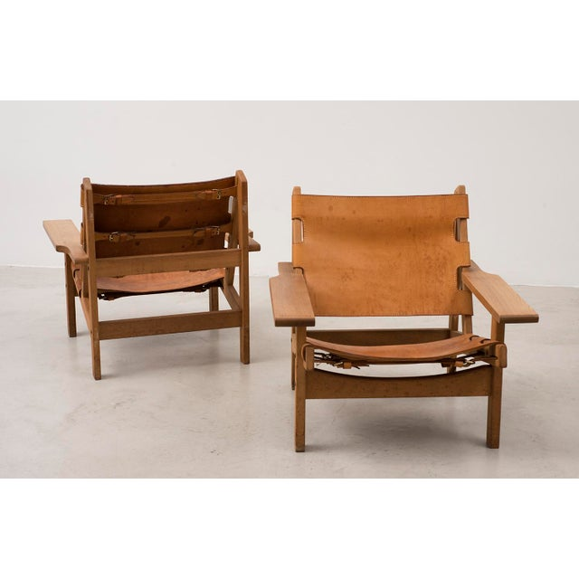 Mid-Century Modern Pair of Kurt Ostervig Hunting Chairs in Oak and Leather, Denmark 1960s For Sale - Image 3 of 11