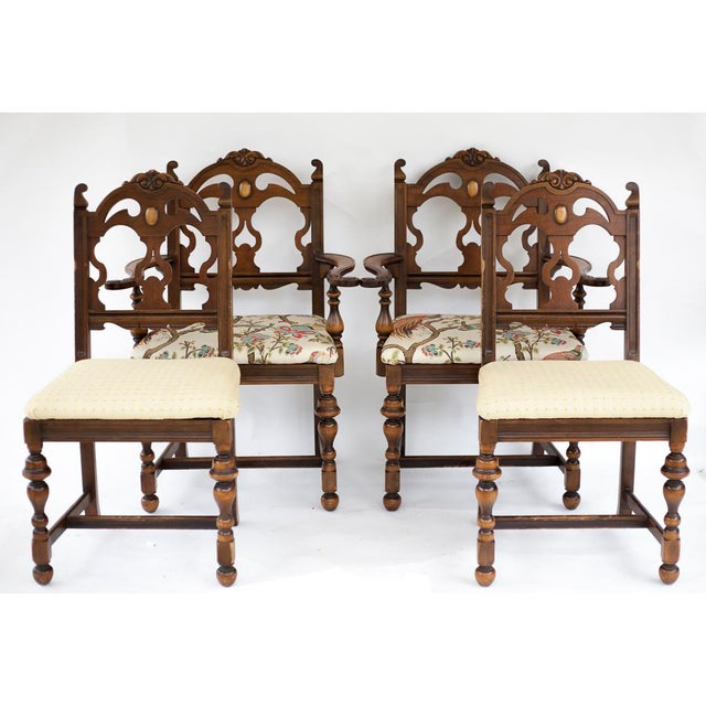 Vintage Wooden Dining Room Chairs - Set of 4 - Image 2 of 11