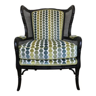 Ethan Allen Faux Bamboo Press Cane Wing Back Occasional Chair Green Teal Velvet For Sale
