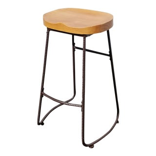 French Country Saddle Seat Stool W Wood Seat Barstool For Sale