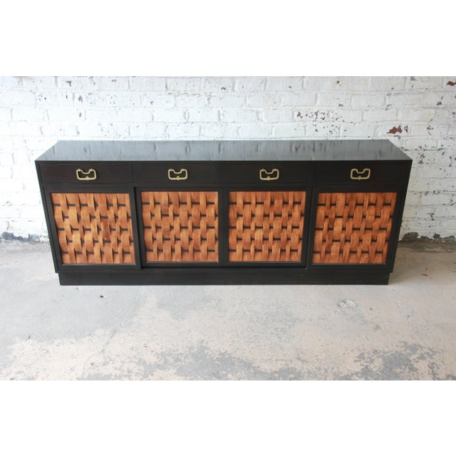 1950s Edward Wormley for Dunbar Woven Front Sideboard Credenza For Sale - Image 5 of 13