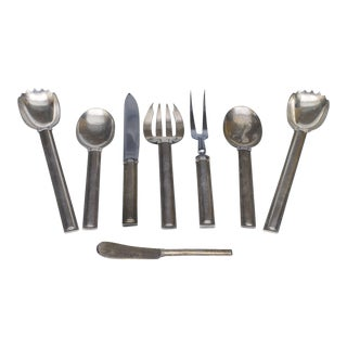 Set of 8 Various French Art Deco Sterling Silver Service Utensils For Sale