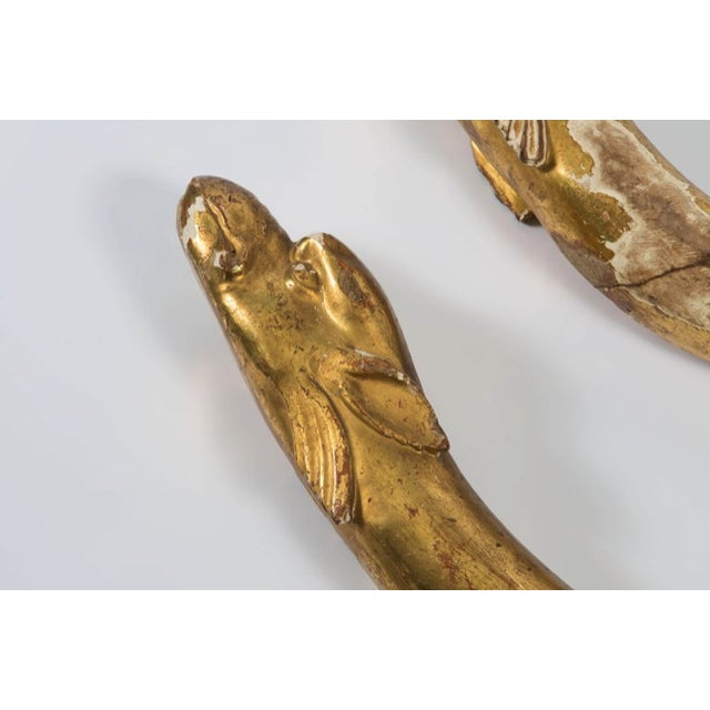 18th Century Gold Leaf Dolphin Shaped Ornaments - a Pair For Sale - Image 10 of 11