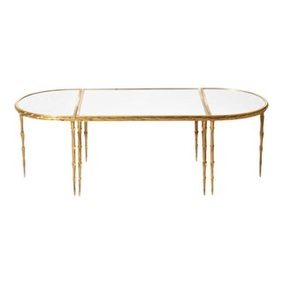 Antique Maison Charles 3 Piece Mirror and Gold Plated Coffee Table C. 1950 For Sale