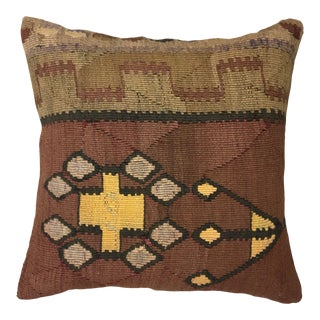 "Reclaimed Mid-Century Kilim Pillow | 18"" For Sale"