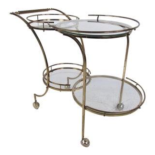 Stylish Mid-Century Modern Circular Brass Bar Cart For Sale