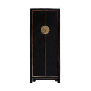 Chinese Oriental Distressed Black Lacquer Moonface Slim Storage Cabinet For Sale