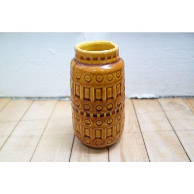 Mid-Century Modern 1960s Mid-Century West German Scheurich Keramik Inka Mustard Ceramic Vase For Sale - Image 3 of 8