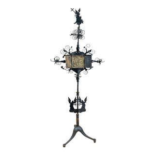 Early Continental Forged Iron Castle Torchiere Stand For Sale