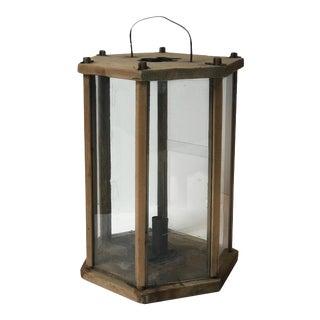 Swedish Late 19th Century Hexagonal Wooden Lantern For Sale