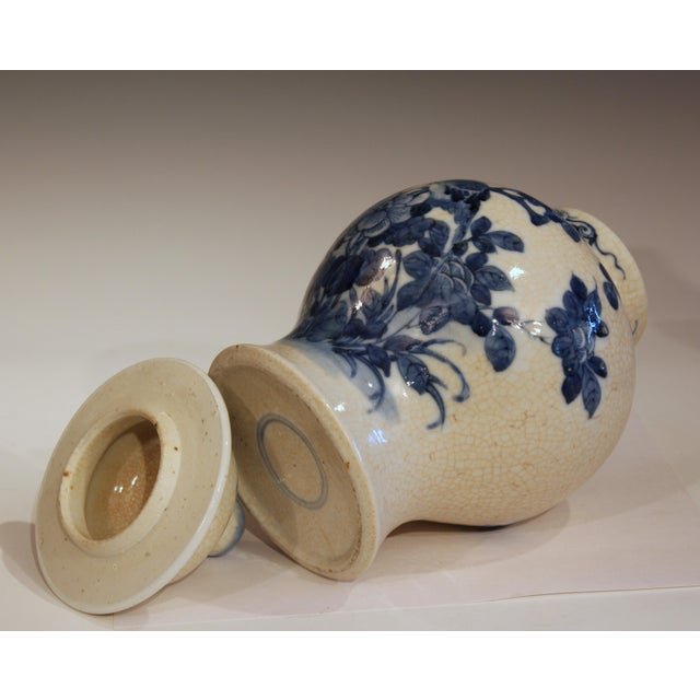 Early 20th Century Antique 19th Double Circle Mark Chinese Blue & White Porcelain Jar Cover Vase For Sale - Image 5 of 12