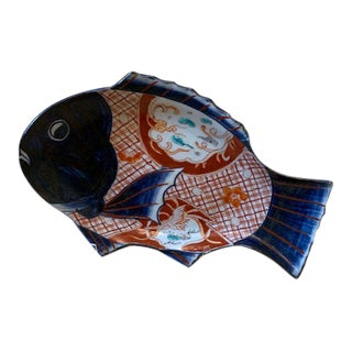 Vintage Chinoiserie Blue and White Fish Trinket Dish/Catchall For Sale