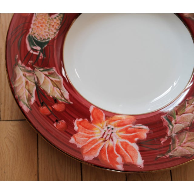 Fabulous Italian Poinsettia Punch Bowl & Platter - a Pair For Sale - Image 11 of 13