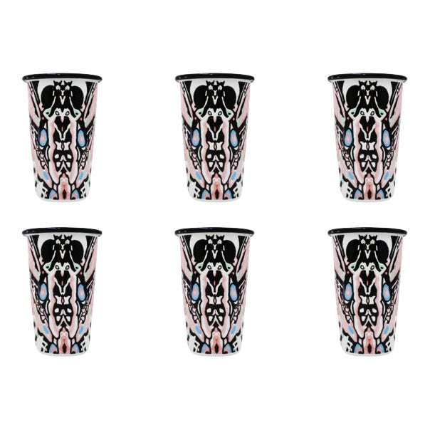 The Harlequin Handmade Tumblers Set of 6 For Sale